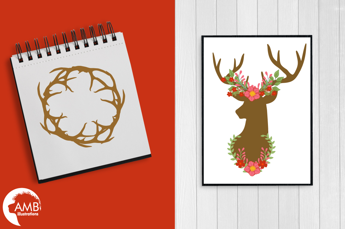 Autumn Antlers and Florals cliparts, graphics and illustrations AMB-1488 example image 5
