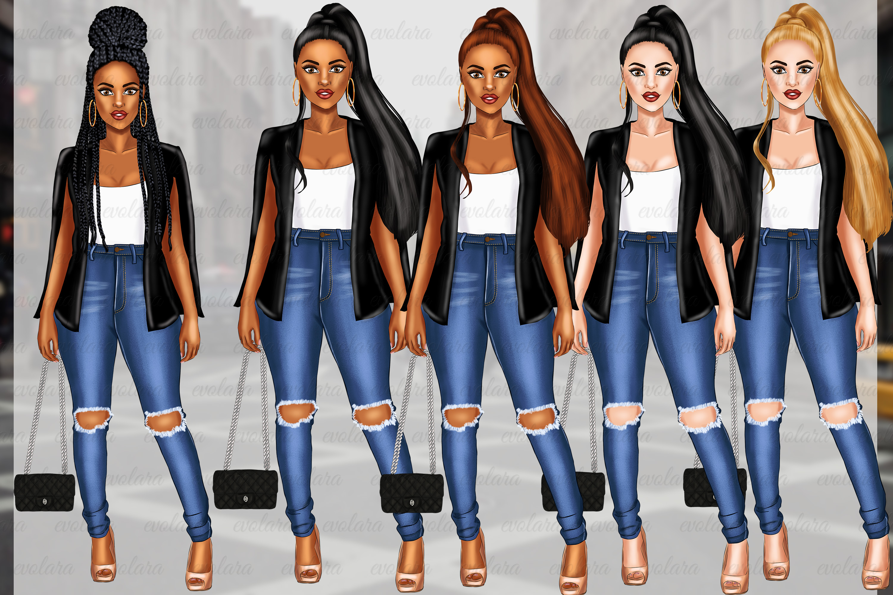 Girl Boss Clipart Fashion Girls Clipart African American example image 2