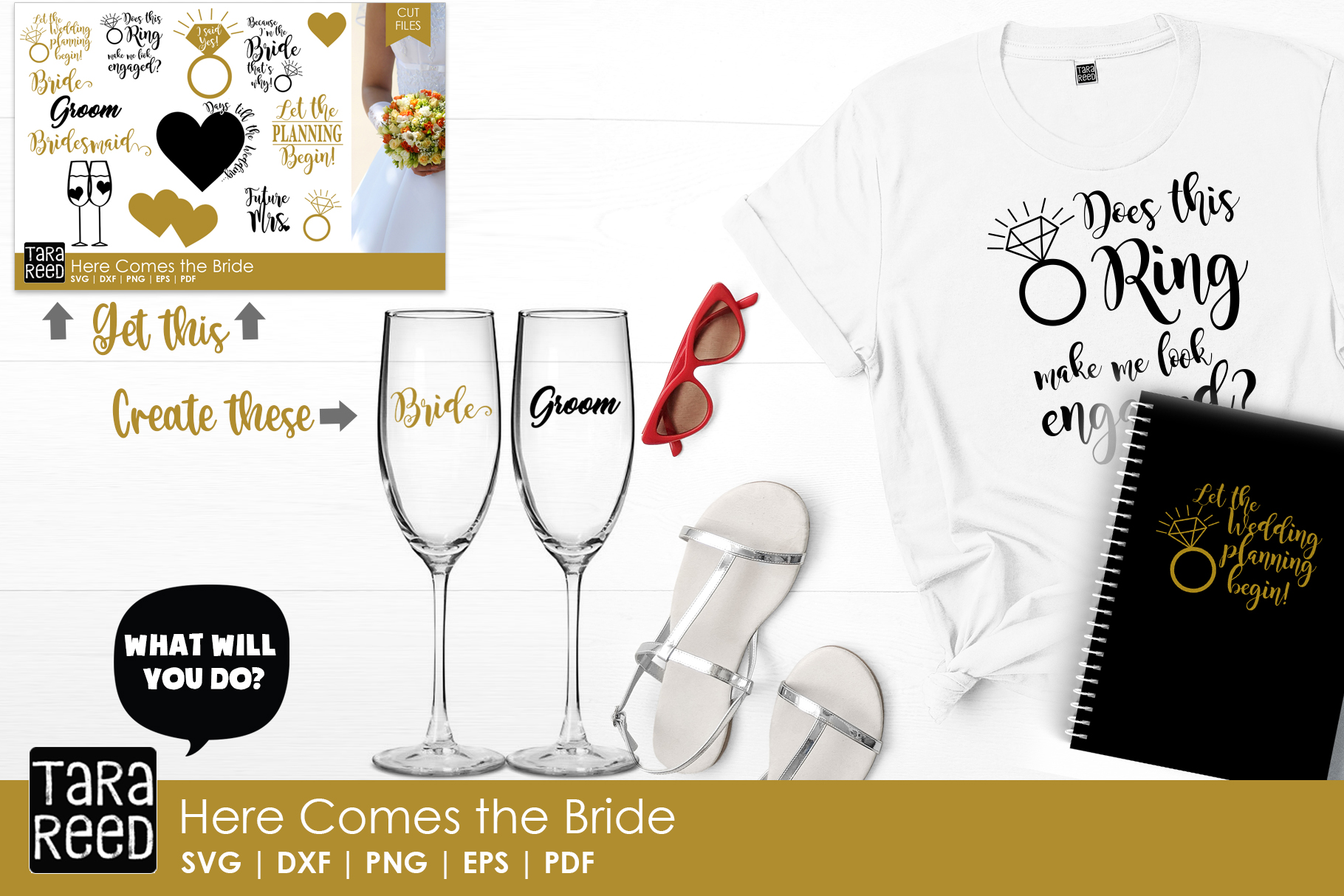 Here Comes the Bride MEGA Bundle - Wedding SVG and Cut Files example image 2