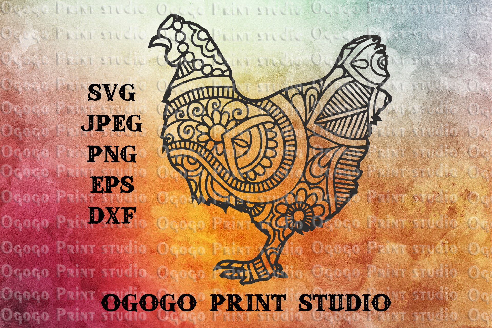 Chicken svg, Easter svg, Zentangle SVG, Mandala svg, Cricut example image 1