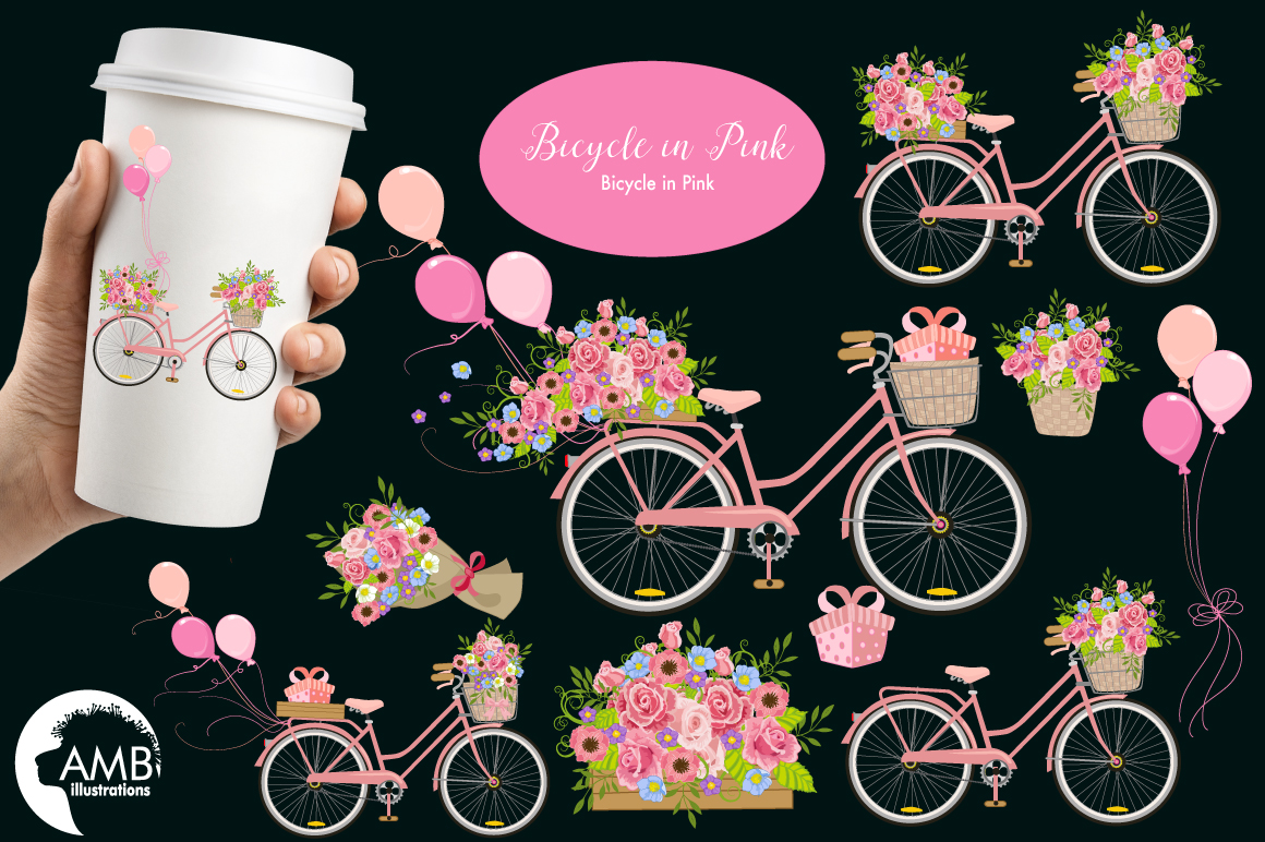 Bicycle in Pink graphics, clipart, illustration AMB-1323 example image 2