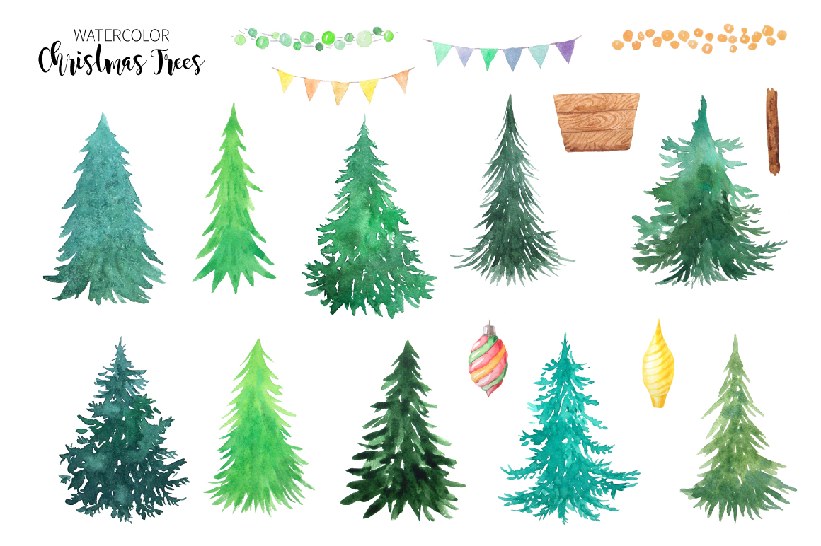 Watercolor Christmas Trees example image 3
