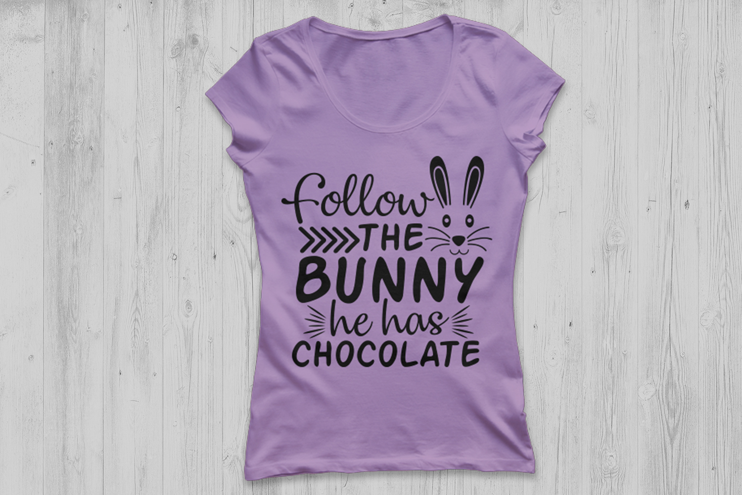 Follow The Bunny He Has Chocolate Svg, Easter Svg. example image 2