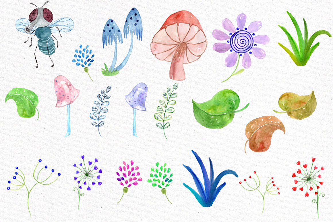 Watercolor bugs clipart example image 3