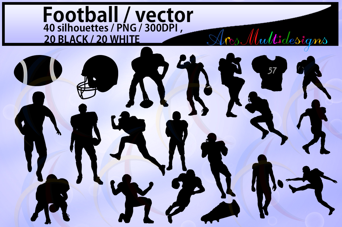 20B+20W football / football silhouette / High Quality /digital clipart / EPS / SVG /football players silhouette / game PNg file / DXF file example image 1
