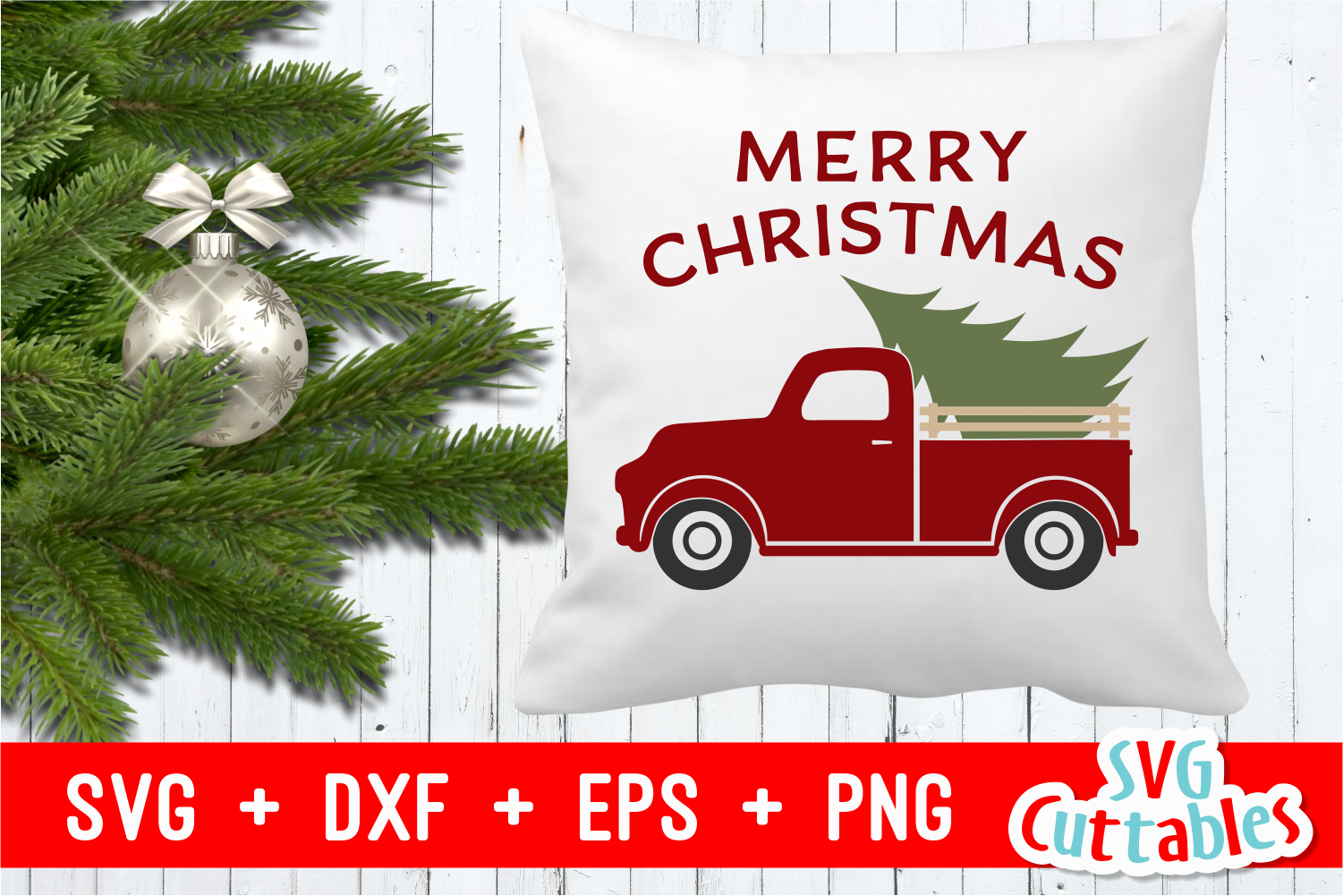Merry Christmas Truck | Christmas Cut File example image 4