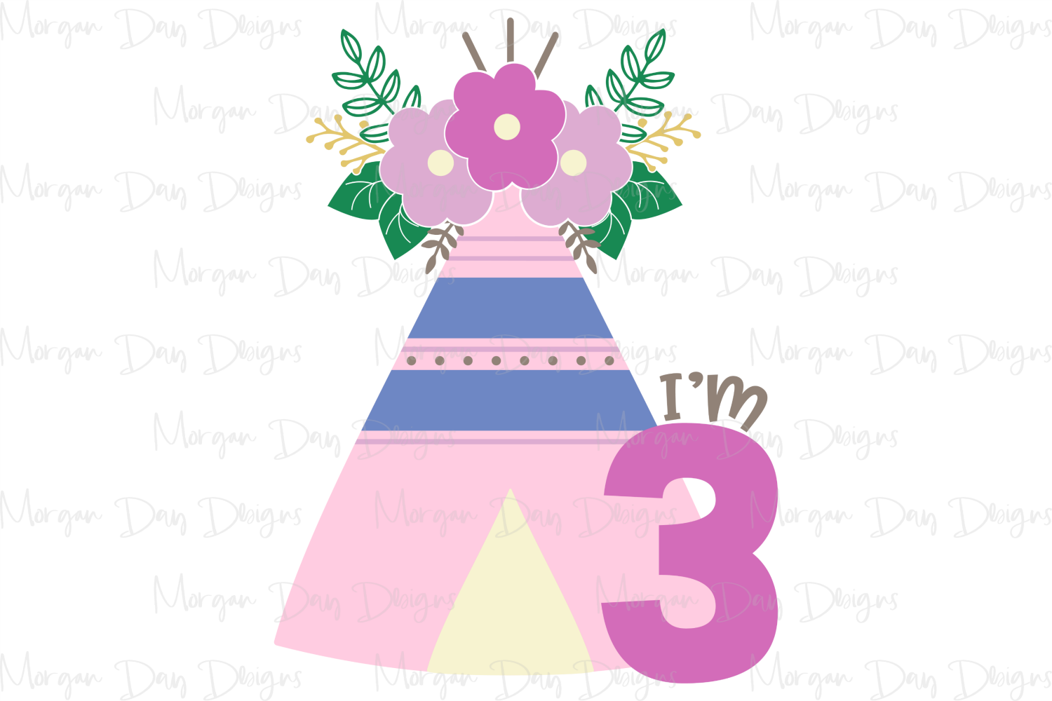 Floral Teepee - Birthday SVG, DXF, AI, EPS, PNG, JPEG example image 2