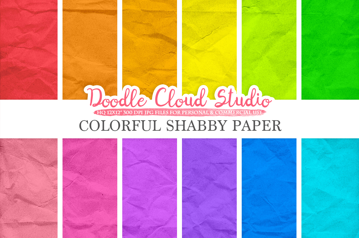Colorful Shabby digital paper pack, Old paper texture, Grungy paper, Folded paper Background, Instant Download for Personal & Commercial Use example image 1