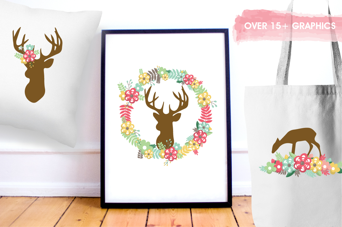 Floral Deers graphics and illustrations example image 5