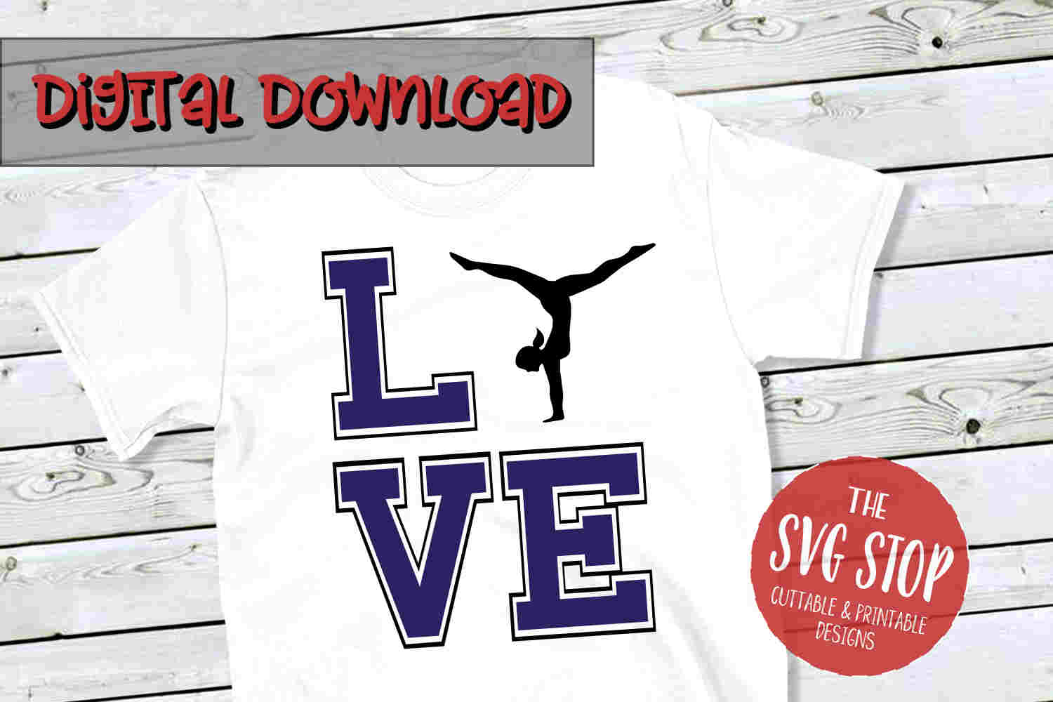 Love Gymnastics -SVG, PNG, DXF example image 1