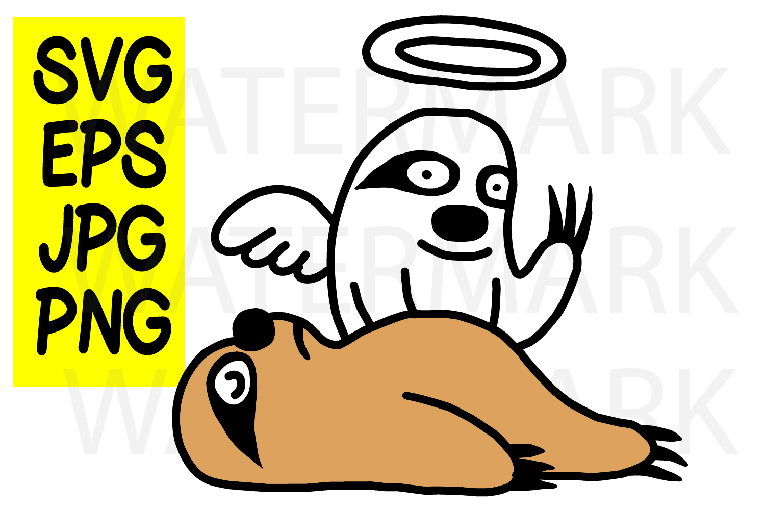 Sloth going to the Heaven- SVG-EPS-JPG-PN example image 1