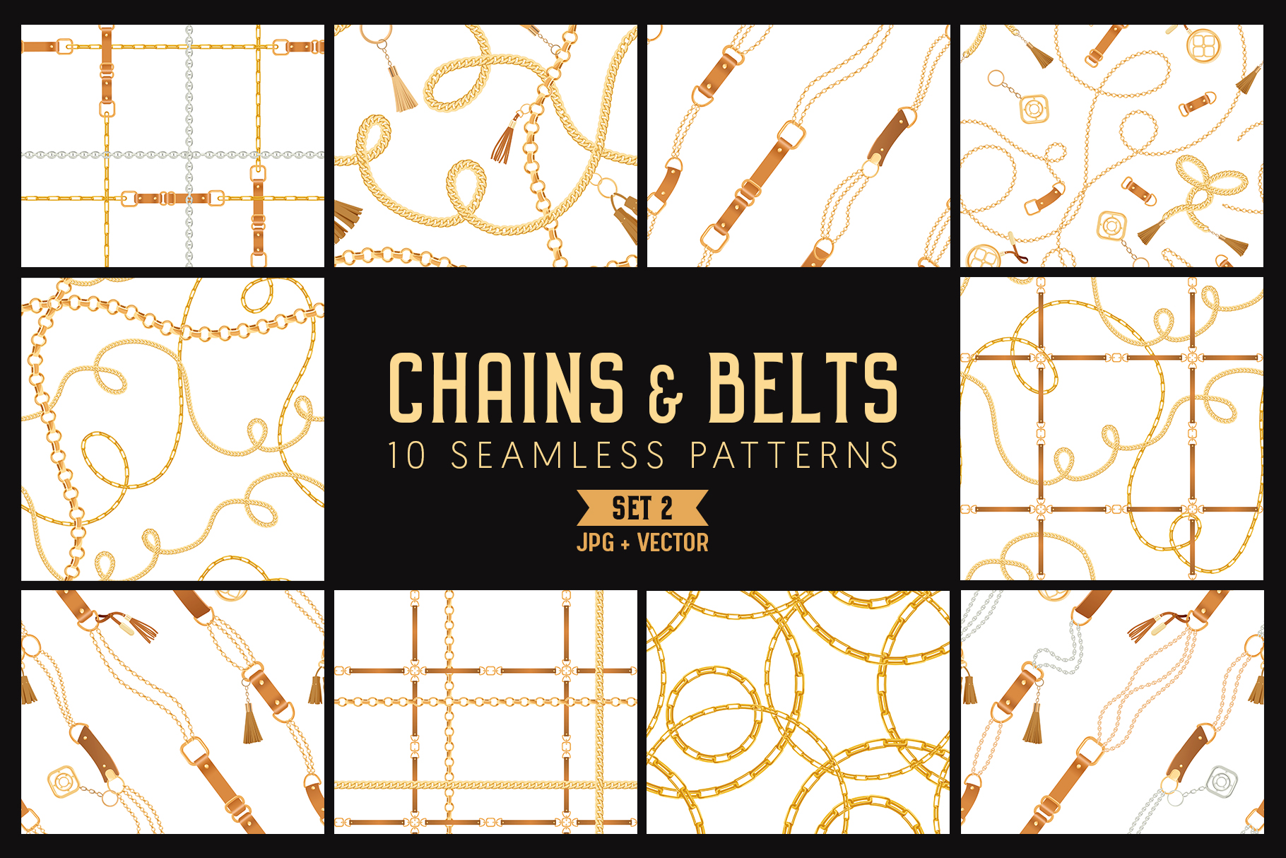 Chains and Belts Seamless Patterns. Set 2 example image 1