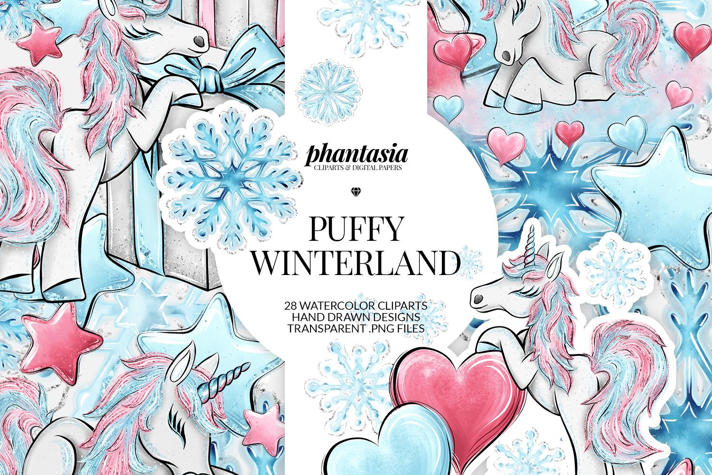 Winter Unicorn Cliparts example image 1