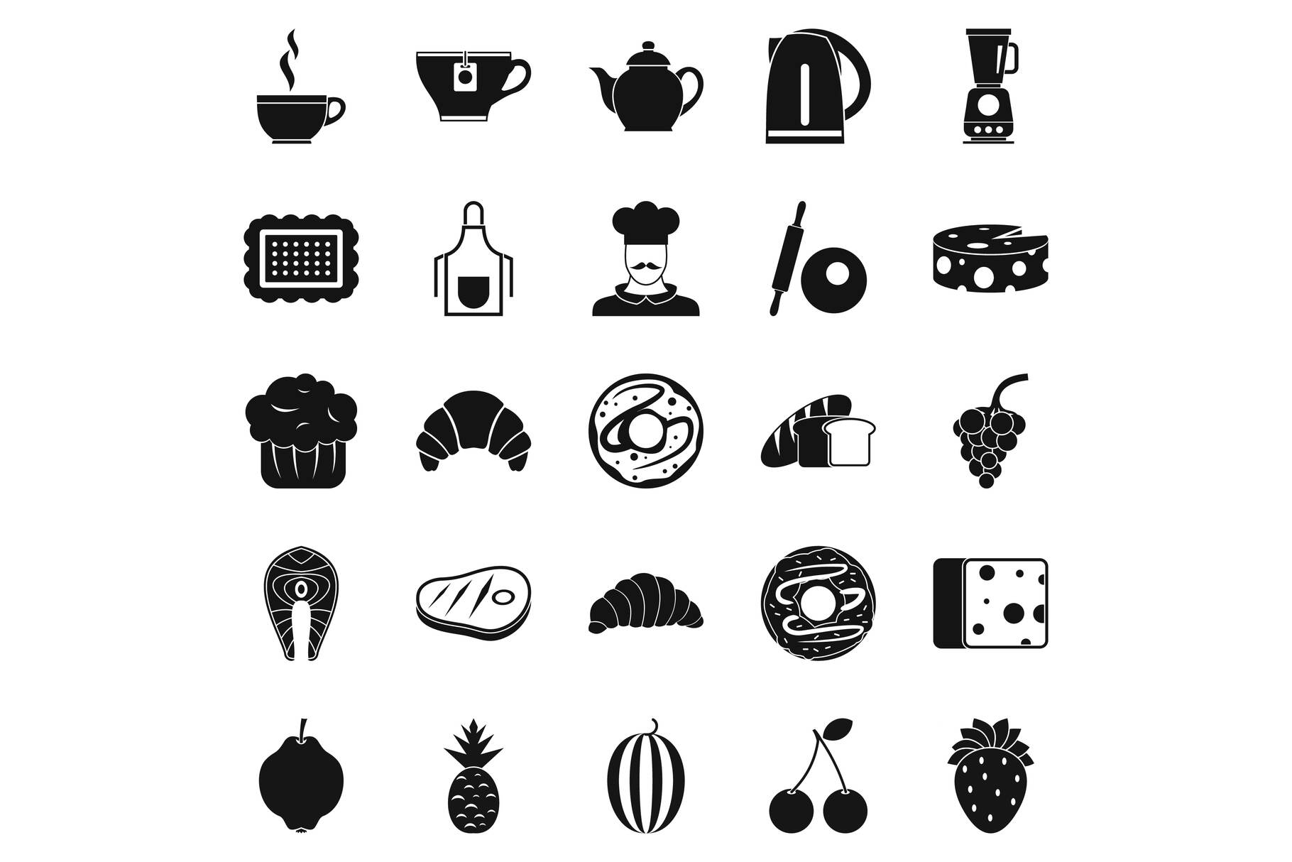 Edible icons set, simple style example image 1