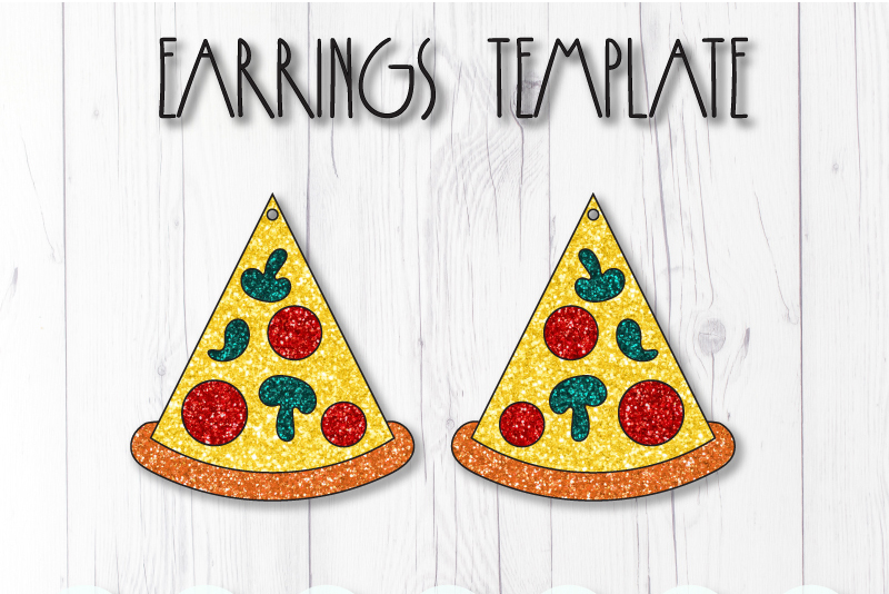 Pizza earrings template SVG, DIY earrings template example image 1