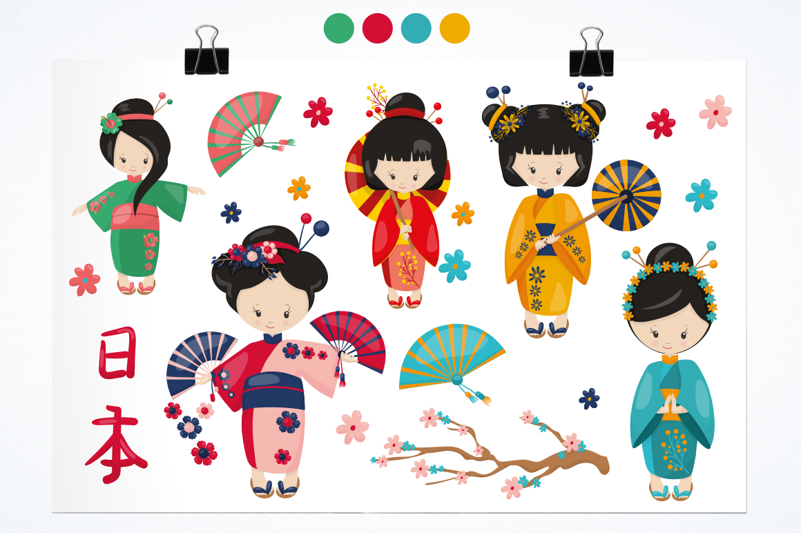 Kimono Girl graphic and illustrations example image 2