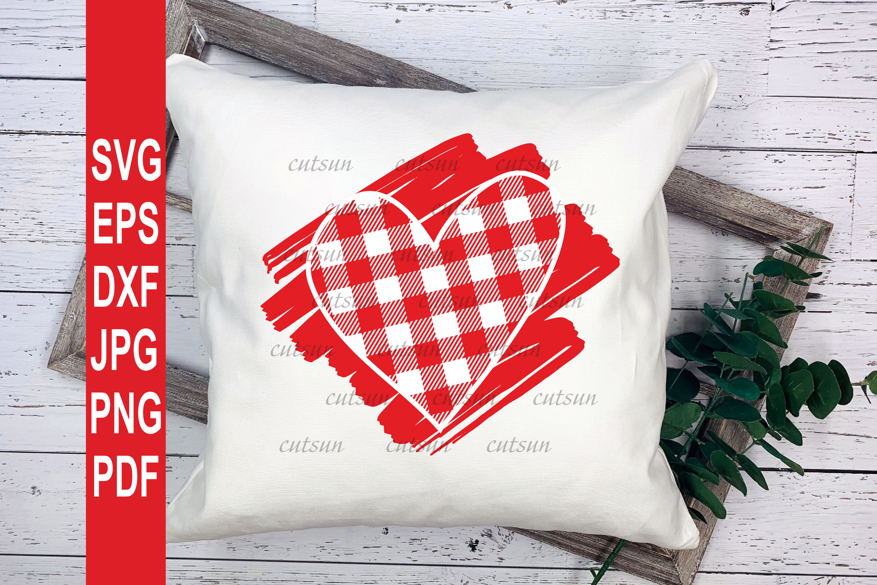 Valentine SVG  Plaid Heart on a scribble   Heart plaid example image 4