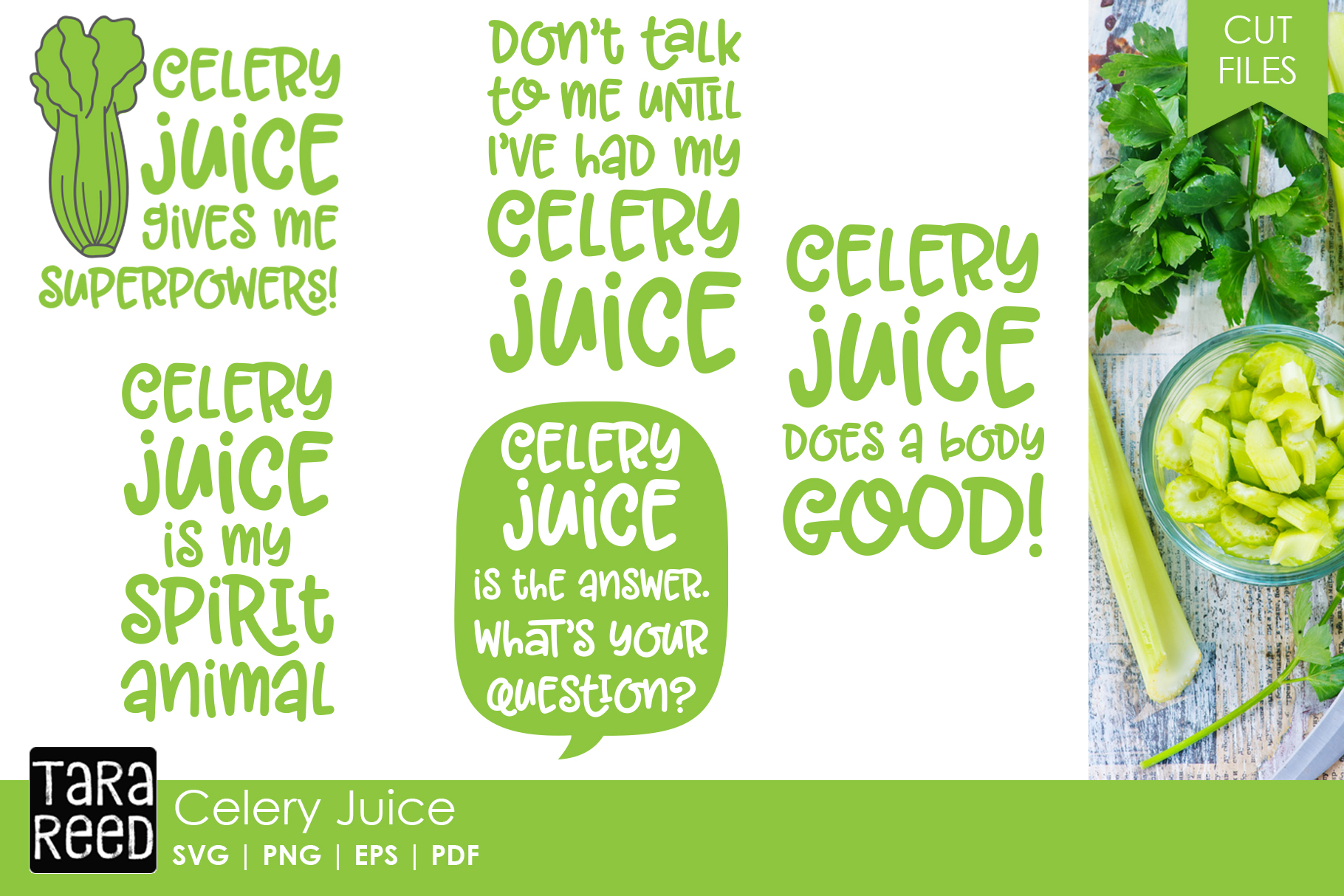 Celery Juice SVG and Cut Files for Crafters example image 1