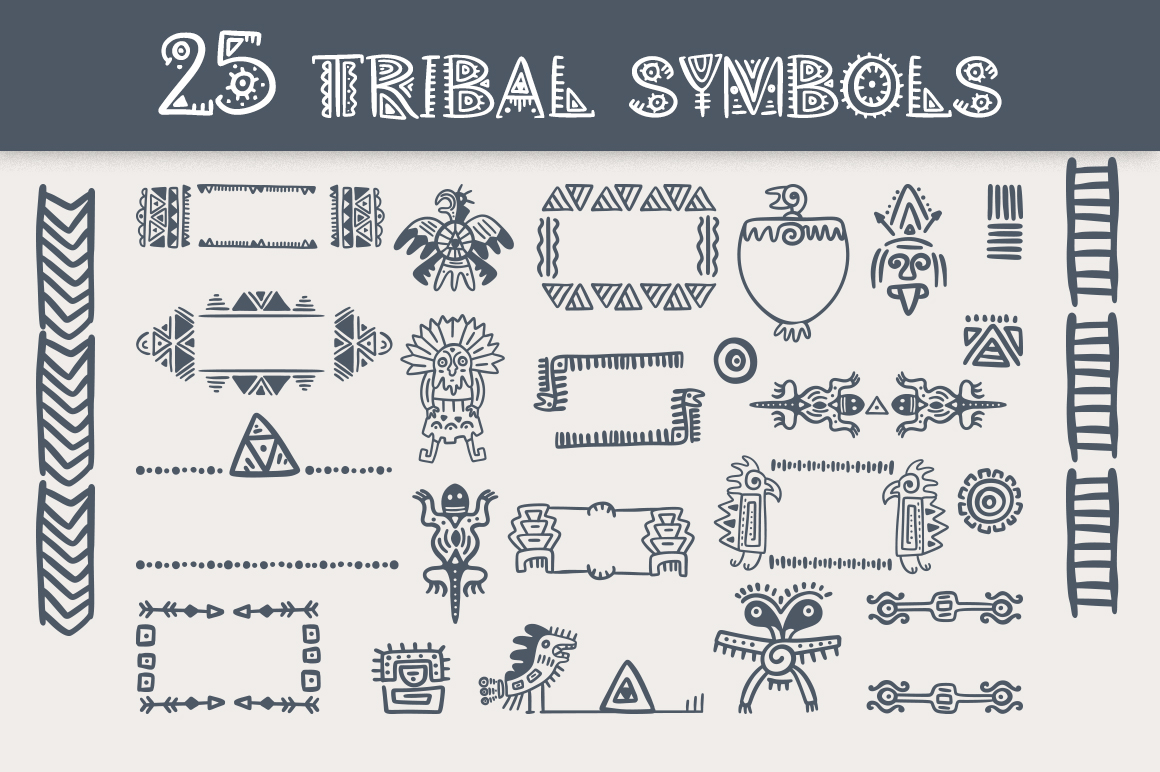 Aztec Soul. Tribal font with extras. example image 10