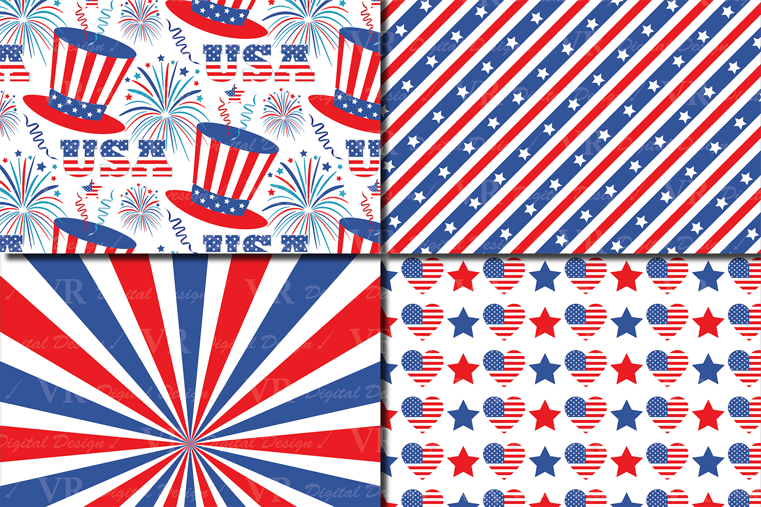 4th of July Digital Paper / USA Independence Day backgrounds / American patriotic Scrapbook paper example image 3