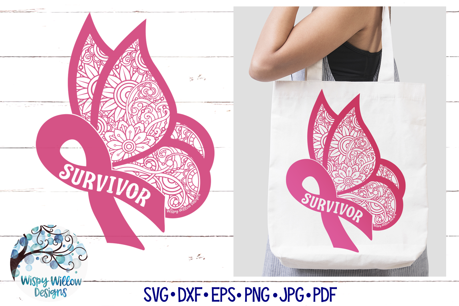 Survivor Ribbon Butterfly Zentangle SVG | Breast Cancer SVG example image 1