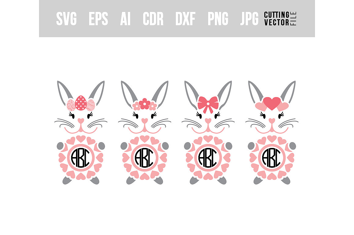 Bunny Monograms - SVG example image 1