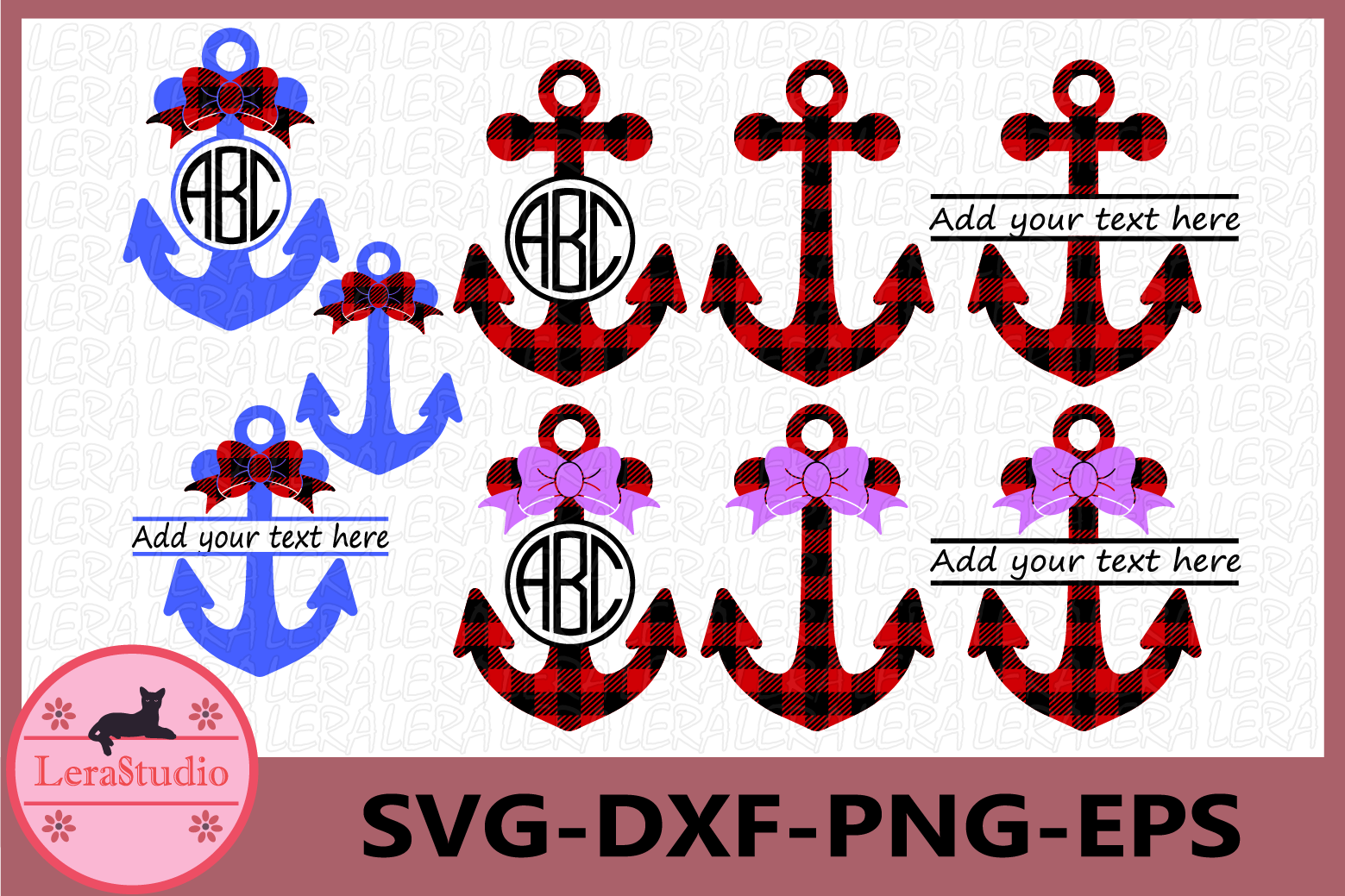 Anchor SVG Files, Anchors Buffalo Plaid Svg, Dxf, Png, Eps example image 1