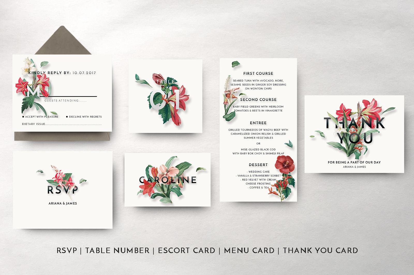 Modern Vintage Floral Wedding Invitation Suite example image 9
