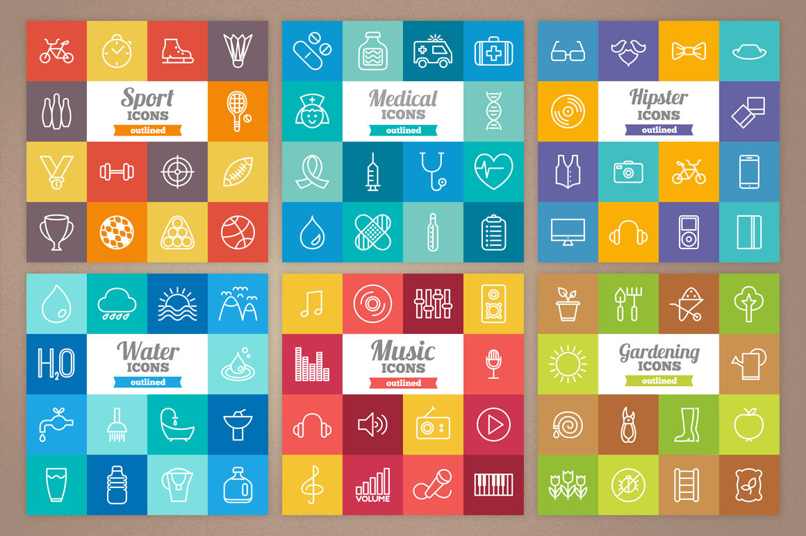 83 Off - Outlined Icons Big Bundle example image 4