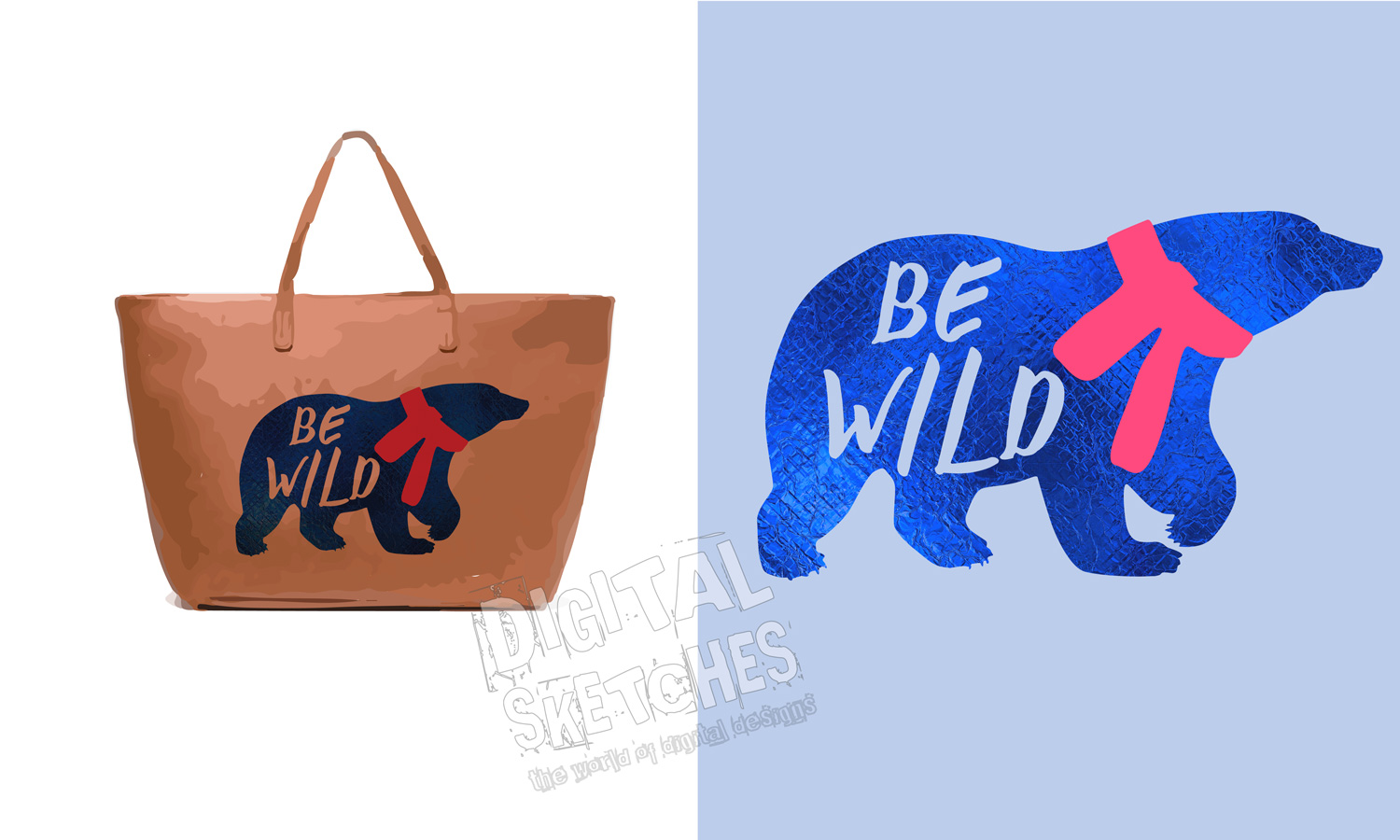Bear Vector Graphic, Be Wild Saying Cut File, Bear SVG example image 4
