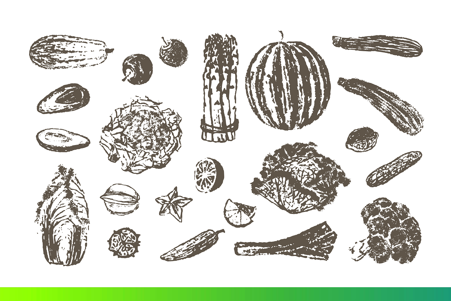 Fruits and Veggies Ink Drawings example image 6
