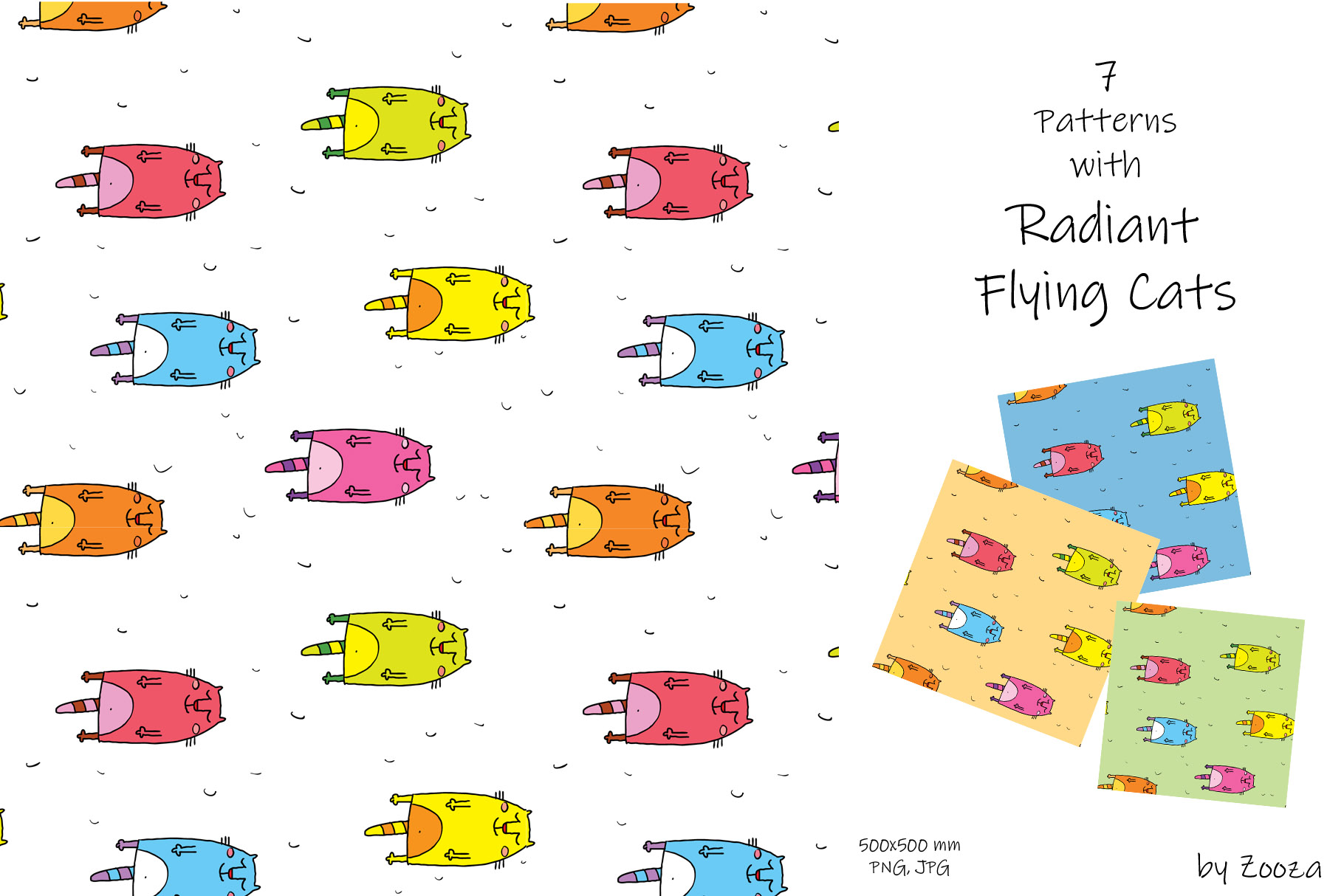 Flying Cats - patterns, illustrations example image 10
