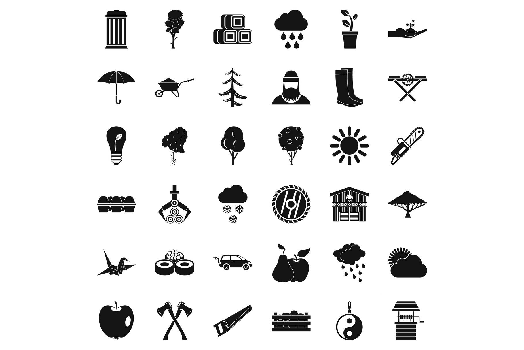 Tree icons set, simple style example image 1