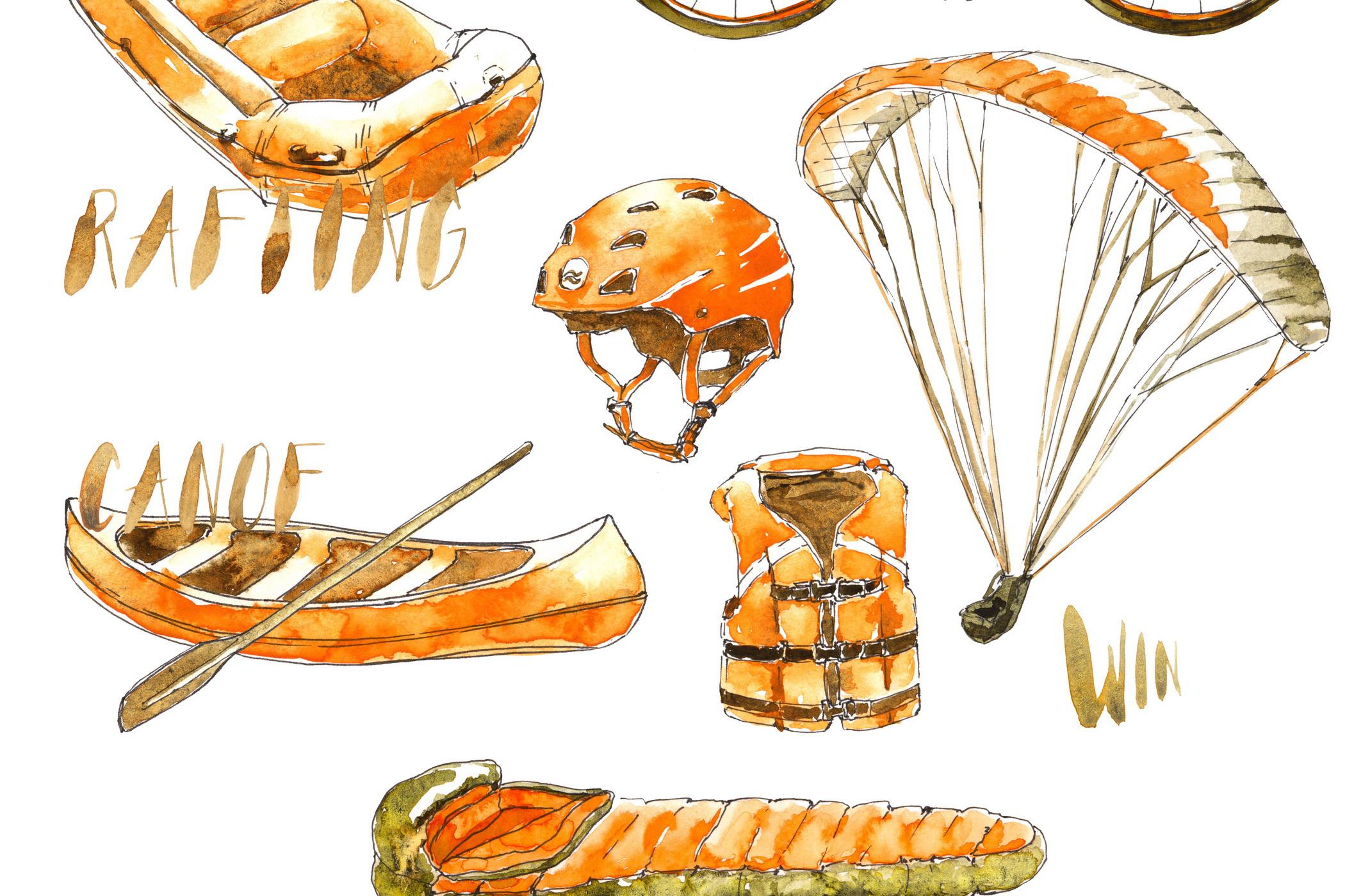 Outdoor Activities Watercolor Sketch example image 7