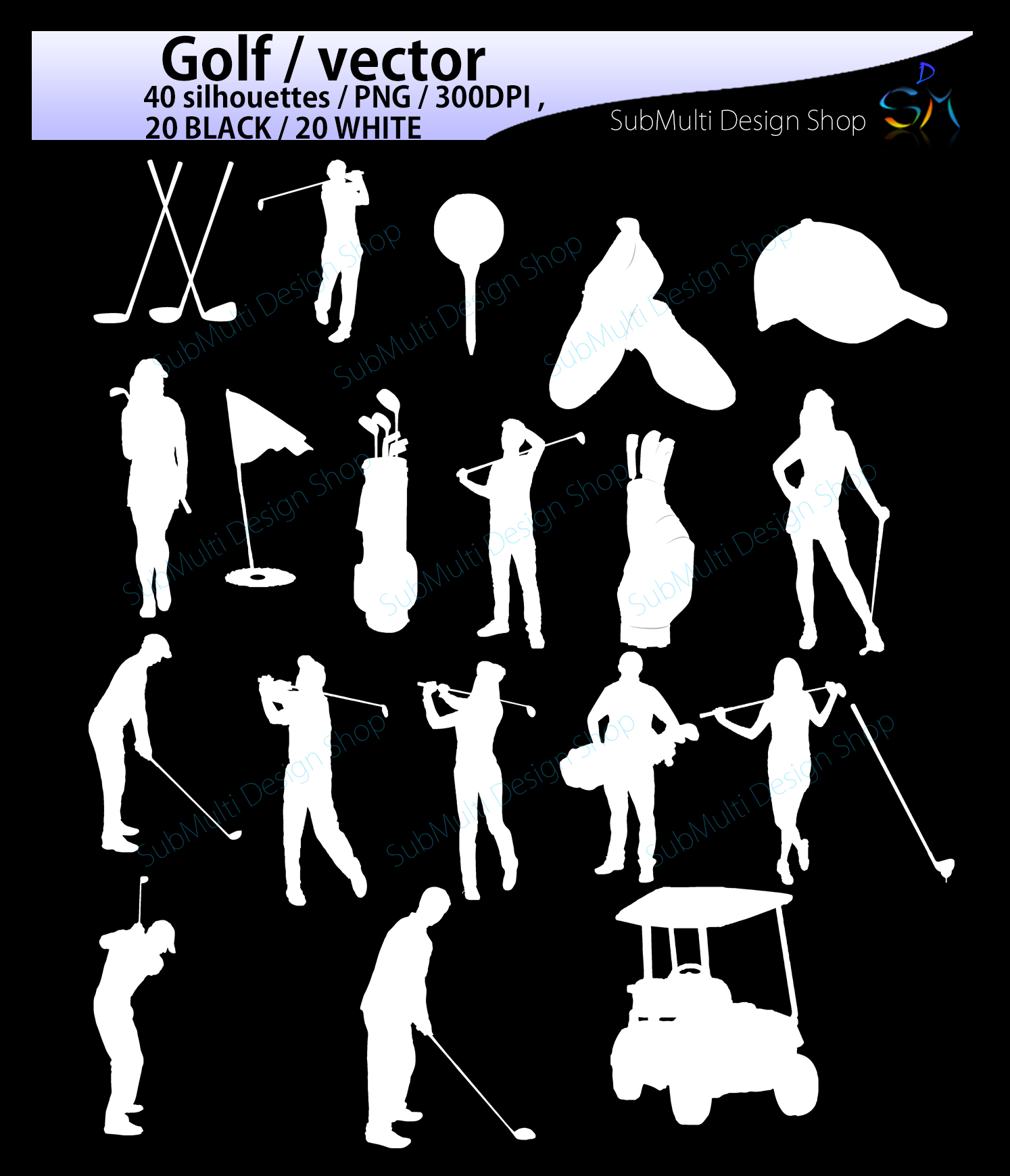 golf / golf SVG / golf silhouette / golf clipart / printable golf players / golf game set / EPS / PNG file /High Quality Vector / Dxf example image 3