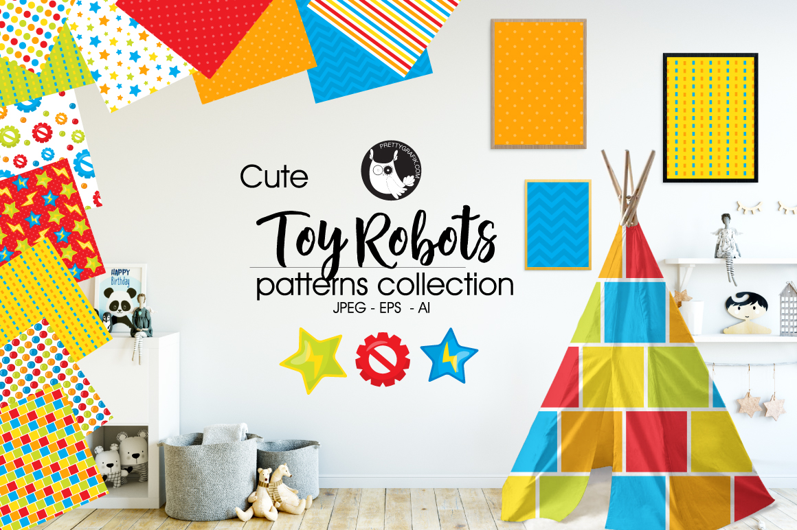 TOY-ROBOTS digital papers example image 1