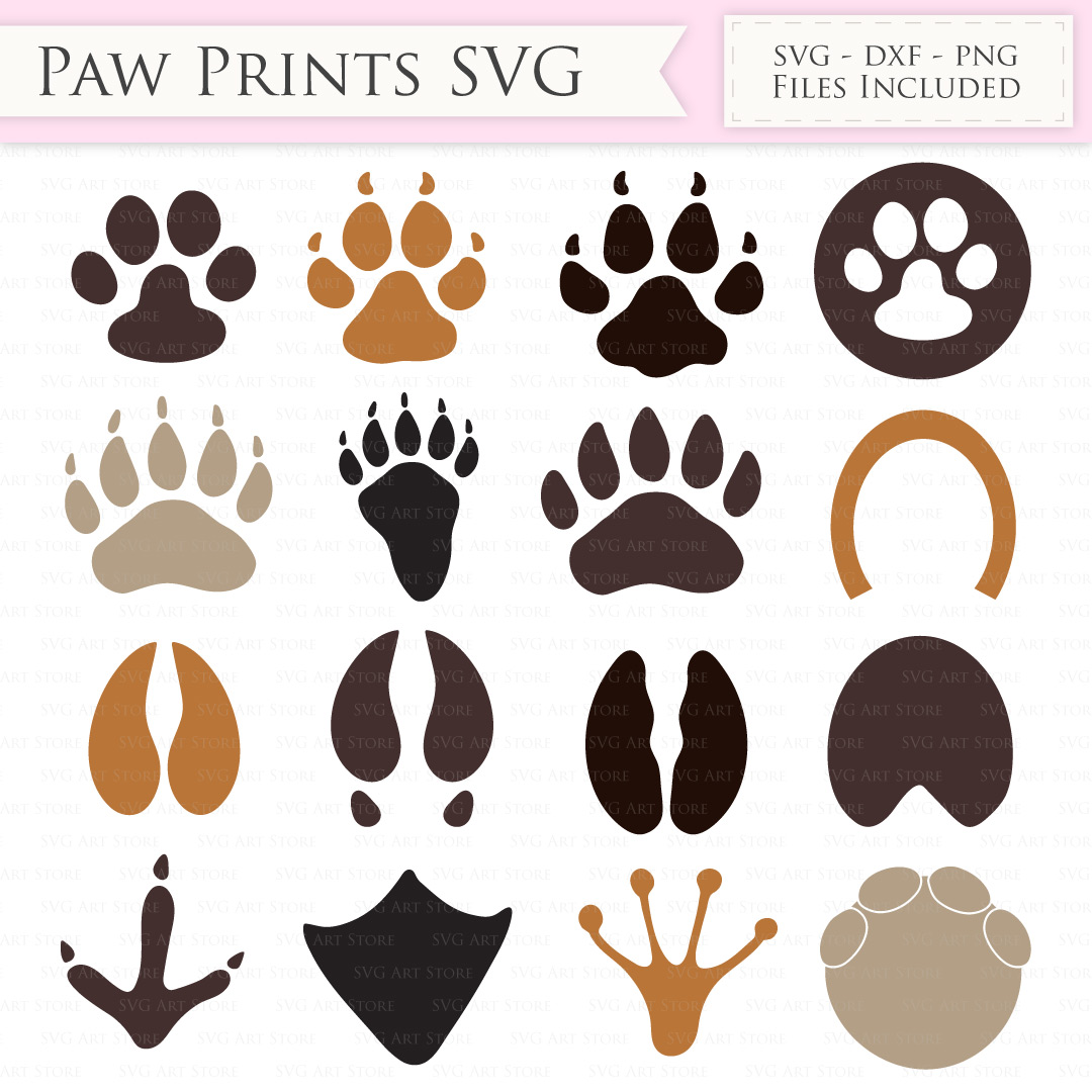 Download Paw print SVG Files - Animal paw print cut files for ...