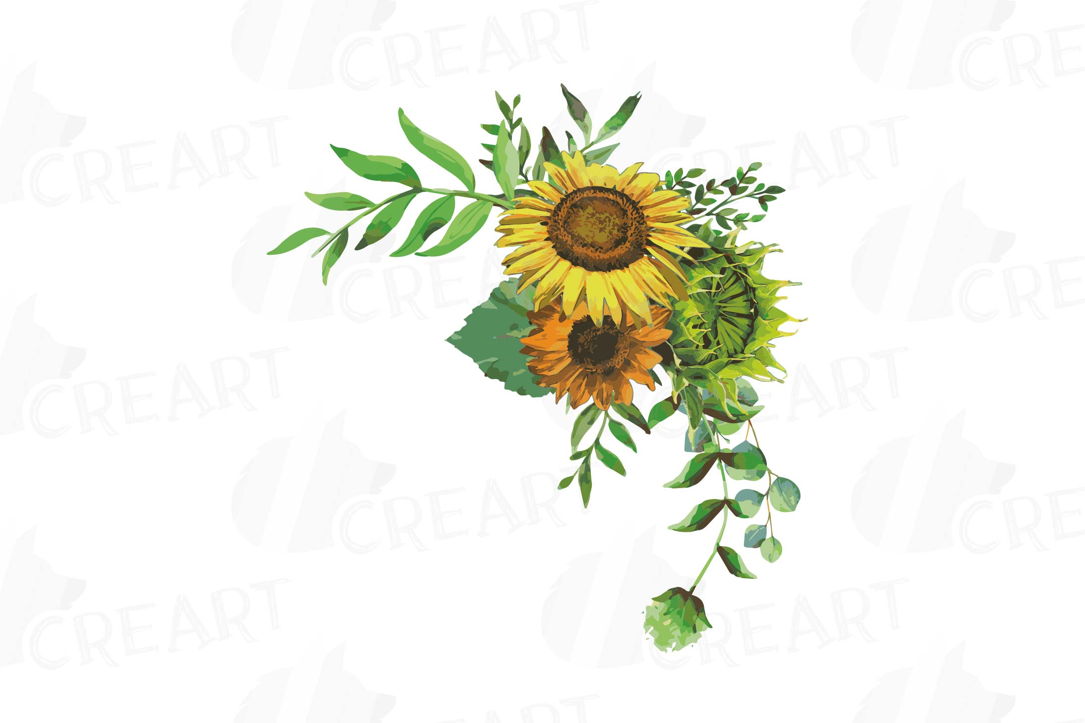 Watercolor sunflower bouquets and design elements example image 10