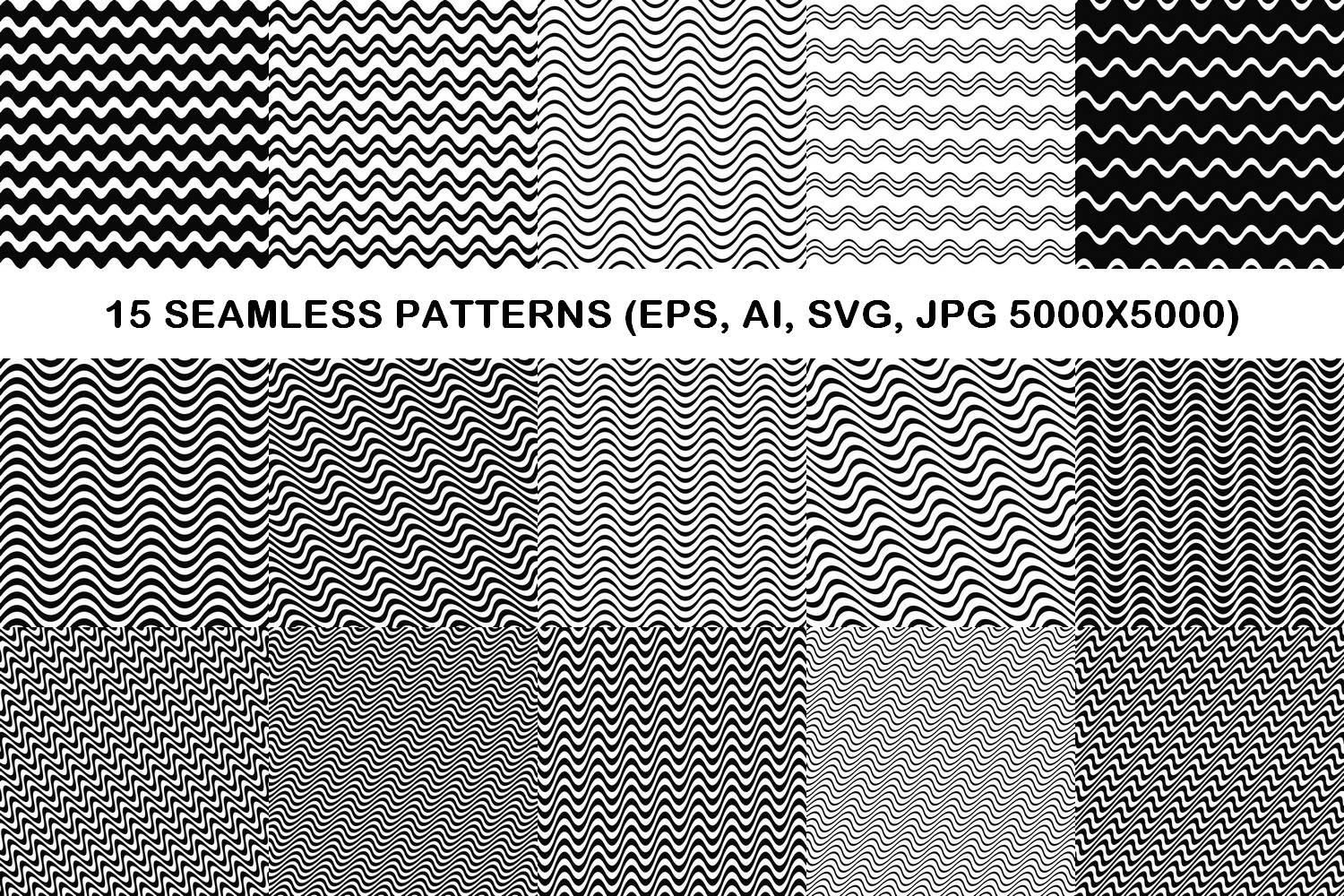 75 Monochrome Geometrical Patterns AI, EPS, JPG 5000x5000 example image 6