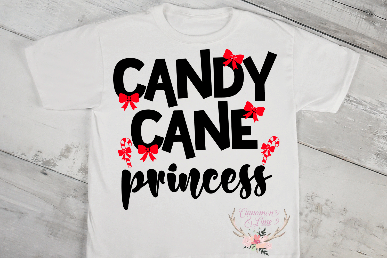 Christmas Svg - Candy Cane Princess Girl Shirt Cut File example image 2