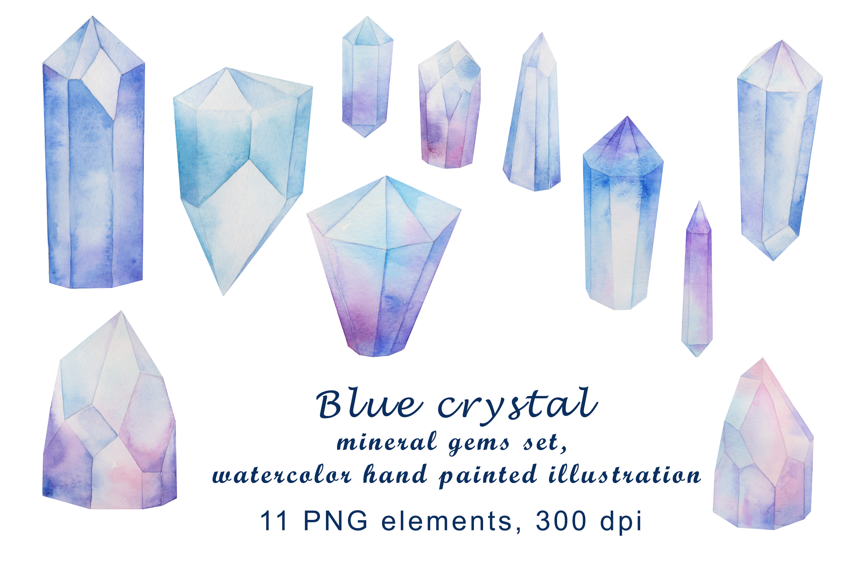 blue crystal mineral gems set, watercolor hand painted example image 1