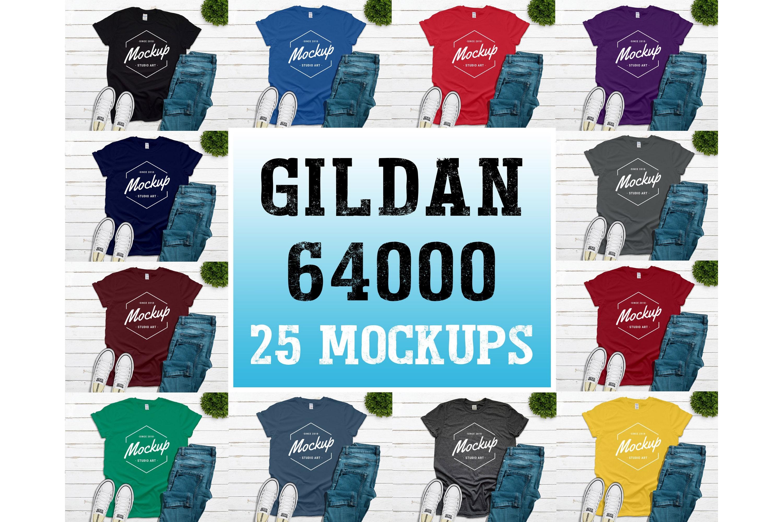 25 Mockups Gildan 64000 Unisex Tshirt Flat Lay Mock Up example image 1