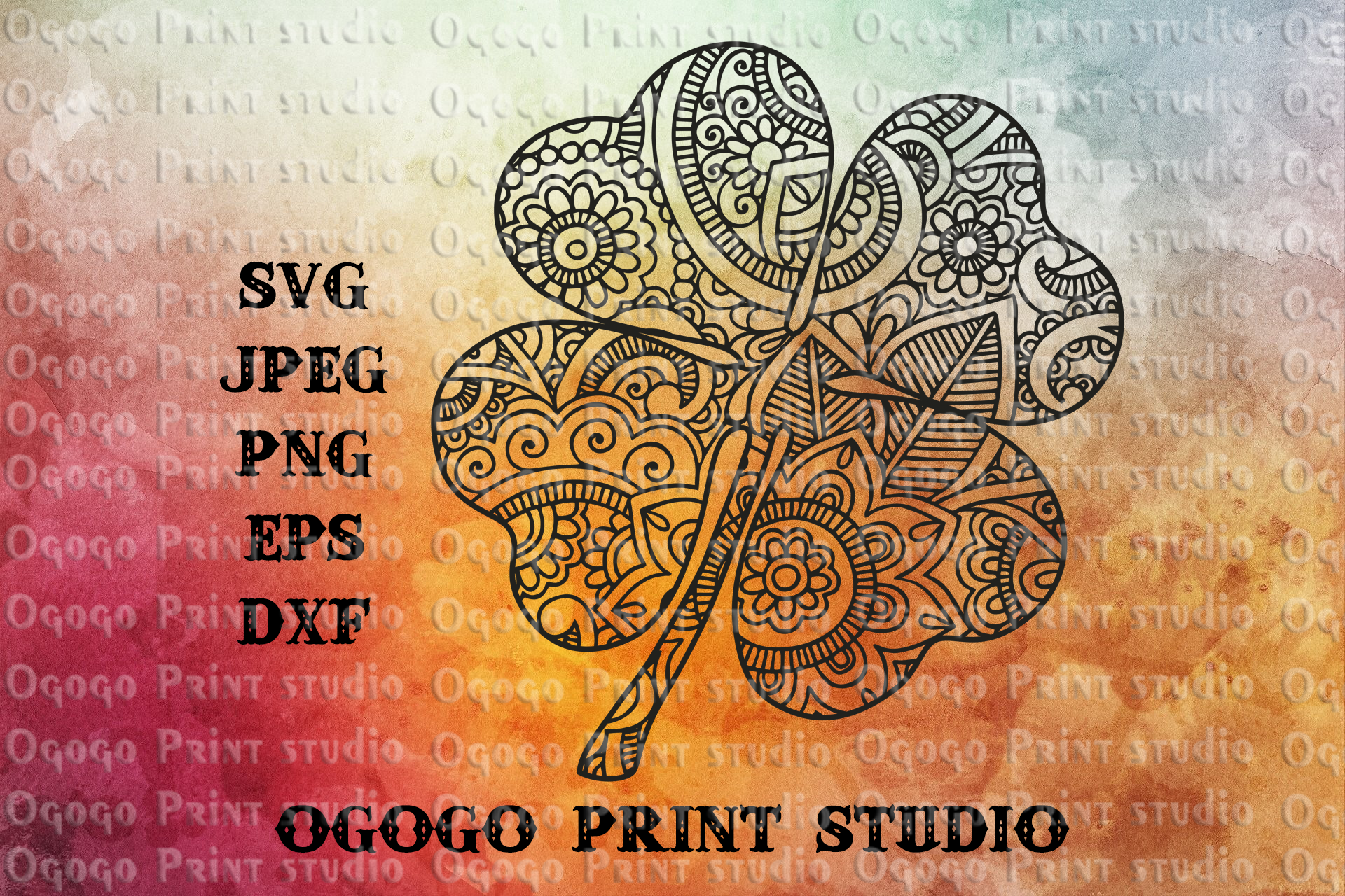 Shamrock svg, Zentangle SVG, St Patricks day svg,Mandala svg example image 1