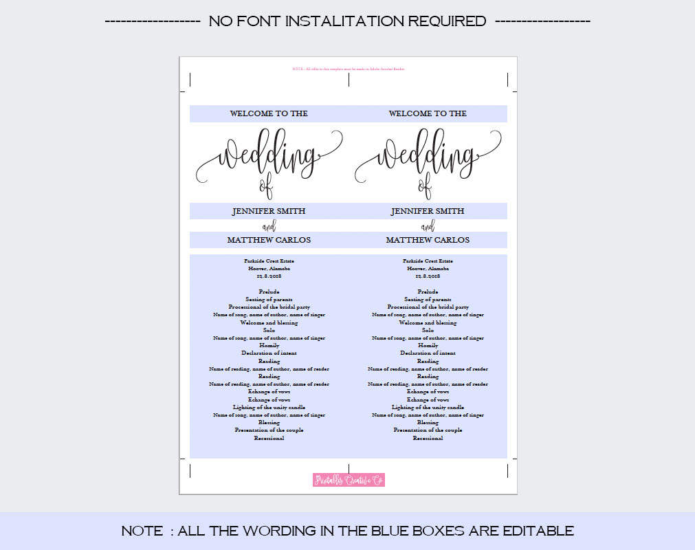 Wedding Program Template example image 4