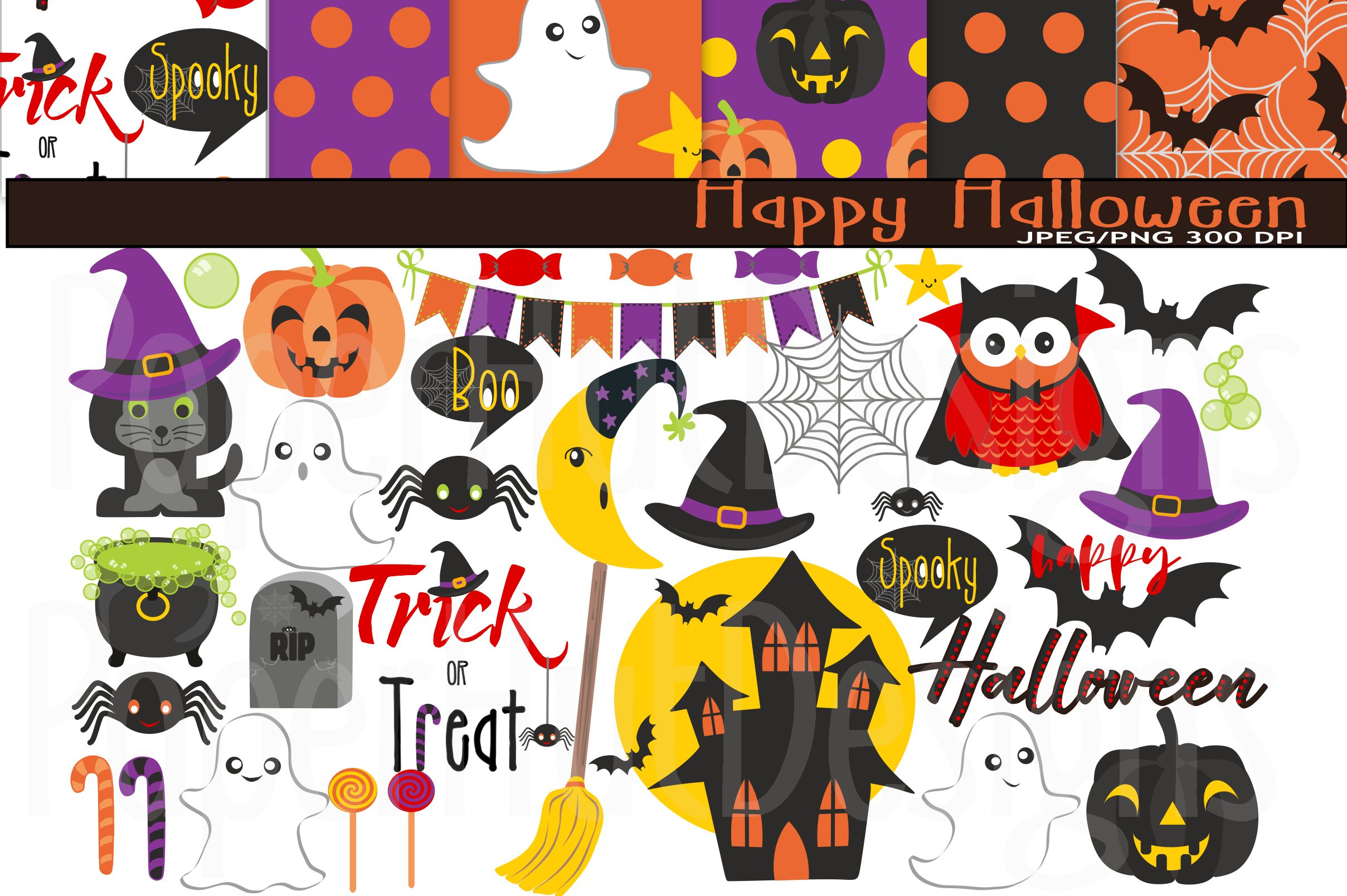 Halloween Clipart and Digital Papers Set