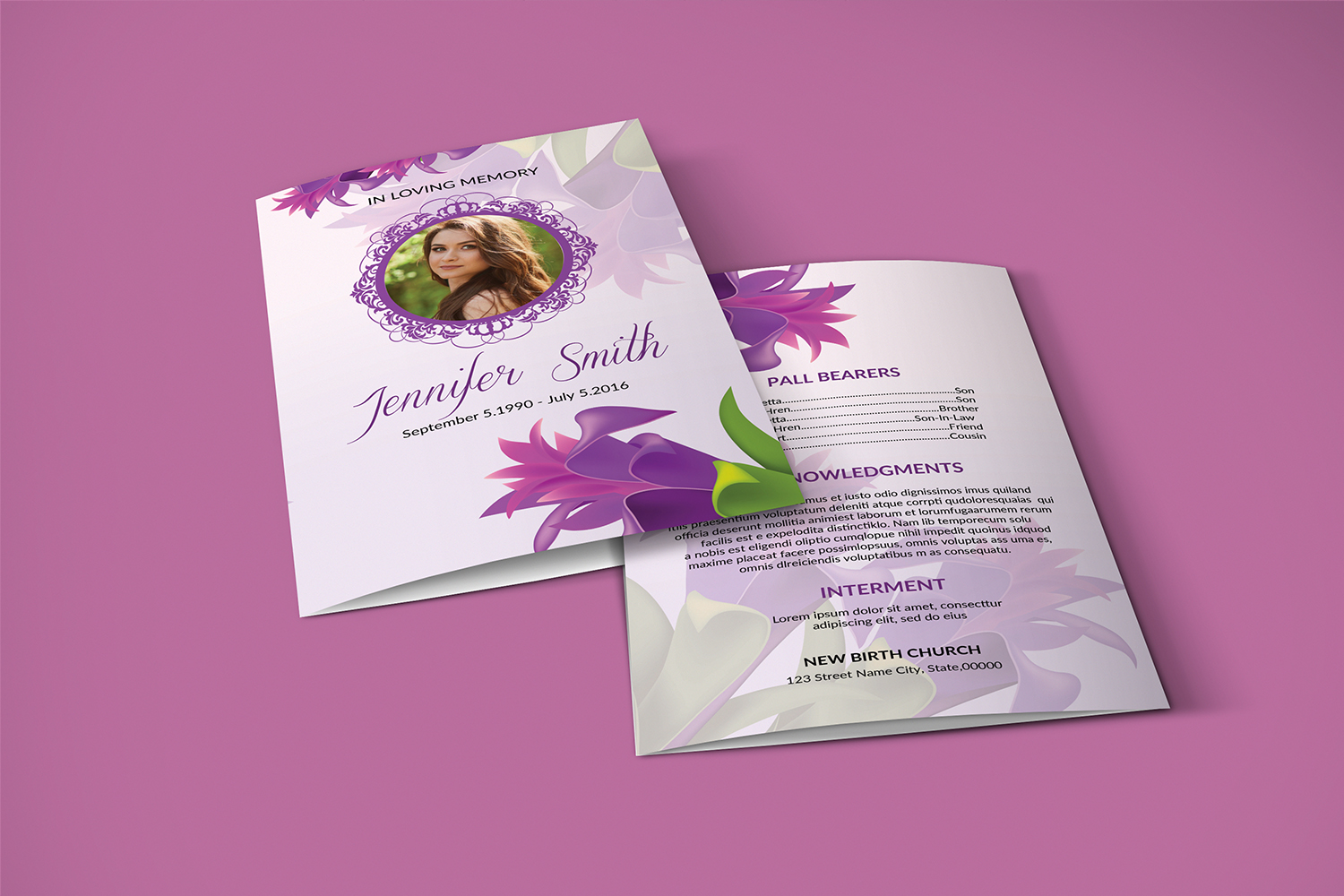 Floral Funeral Program Template example image 5