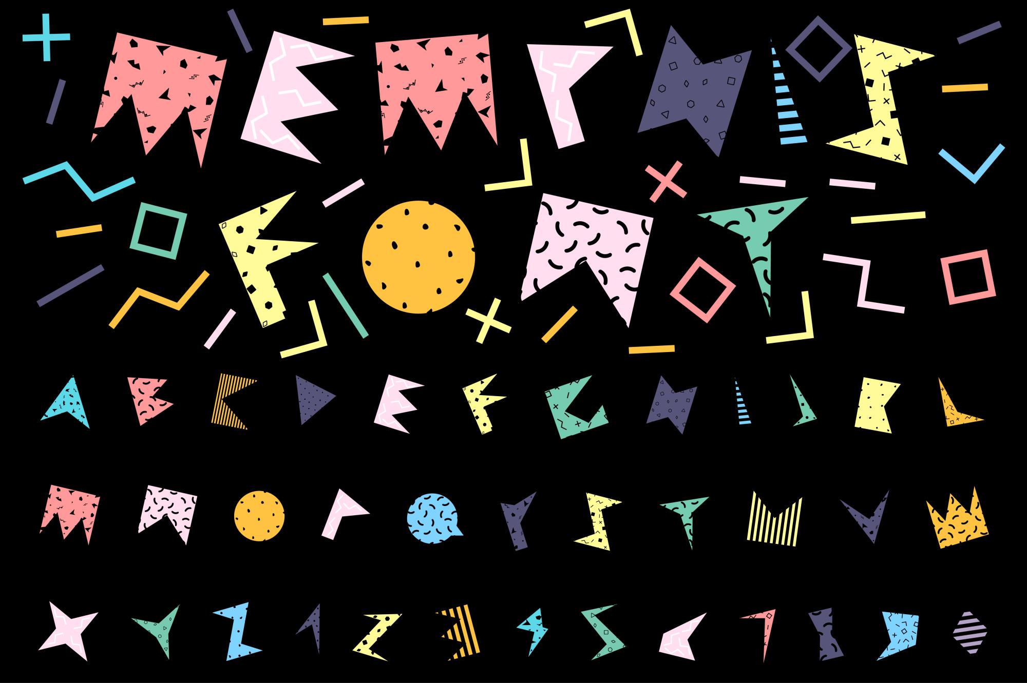 Alphabet in memphis style. example image 2