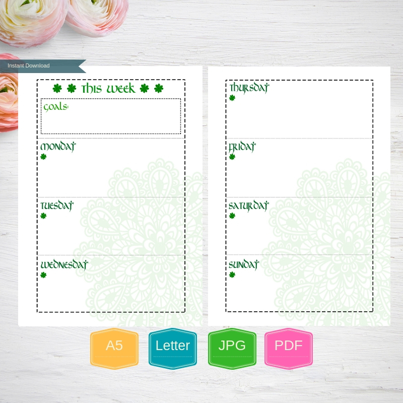 Weekly Planner Printable Weekly pages, Weekly Organizer, A5 example image 4