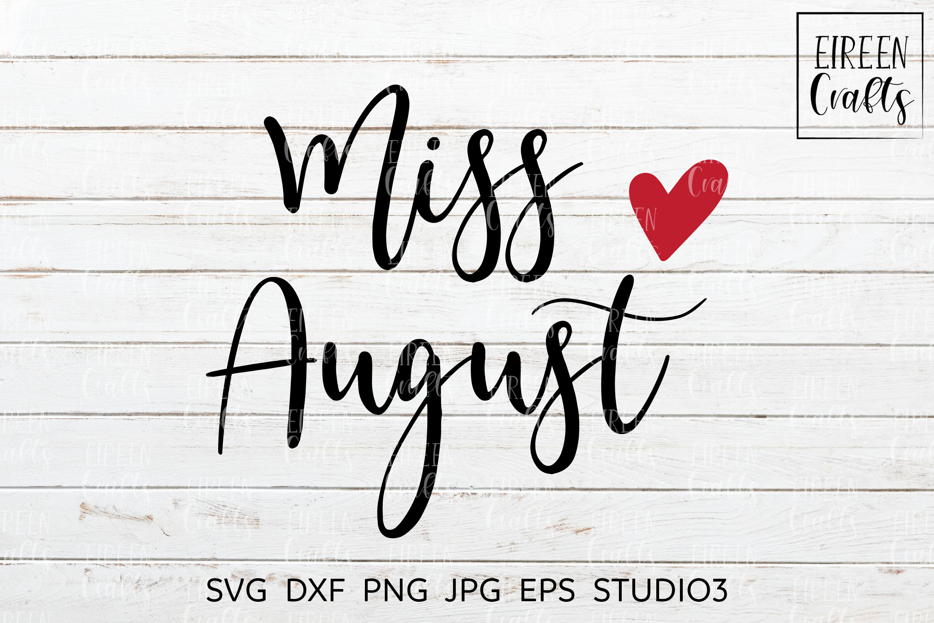 Miss August SVG - cut file for Cricut & Silhouette example image 1