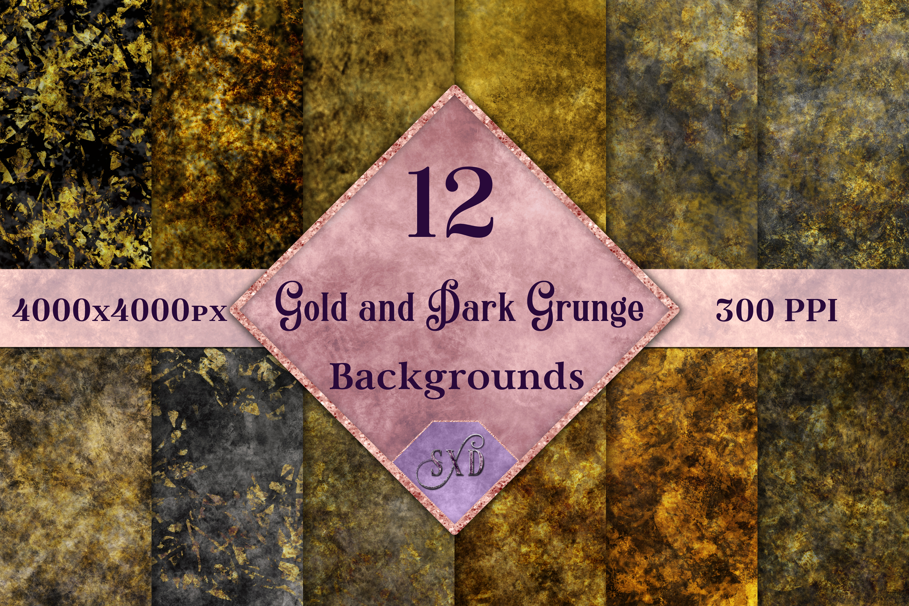 Gold and Dark Grunge Backgrounds - 12 Image Textures Set example image 1